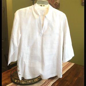 Antibes Blanc white linen tunic. NWOT
